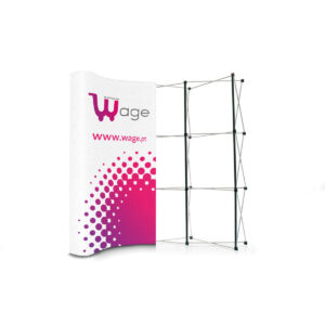 Pop-up Display Clássico S2 3x3 Curvo + 2x Focos + Folhas de PVC